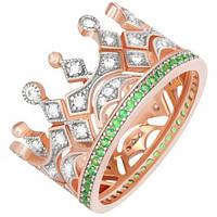 Позолоченое кольцо Царская Корона с изумрудами 585 пробы на серебре 925 пробы