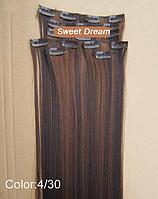Набор накладных прядей на заколках-клипсах из 7-ми штук, наращивание волос, искусственные волосы, цвет №4\30