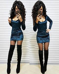 Мраморное платье из бархата Морская волна
