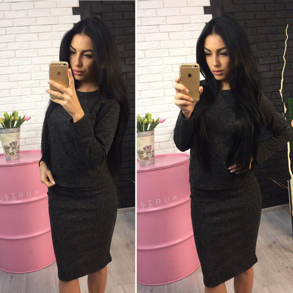Теплый ангоровый костюм: кофта+юбка, цвет - черный