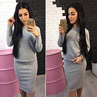 Ангоровый костюм: кофта+юбка, цвет - серый