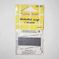 Шелковый шнур с иголкой цвет: серебро