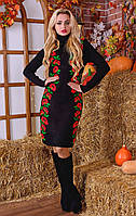 Вязаное платье с розами (в расцветках)