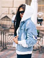 Женская джинсовая куртка с толстовкой (3 цвета), фото 1