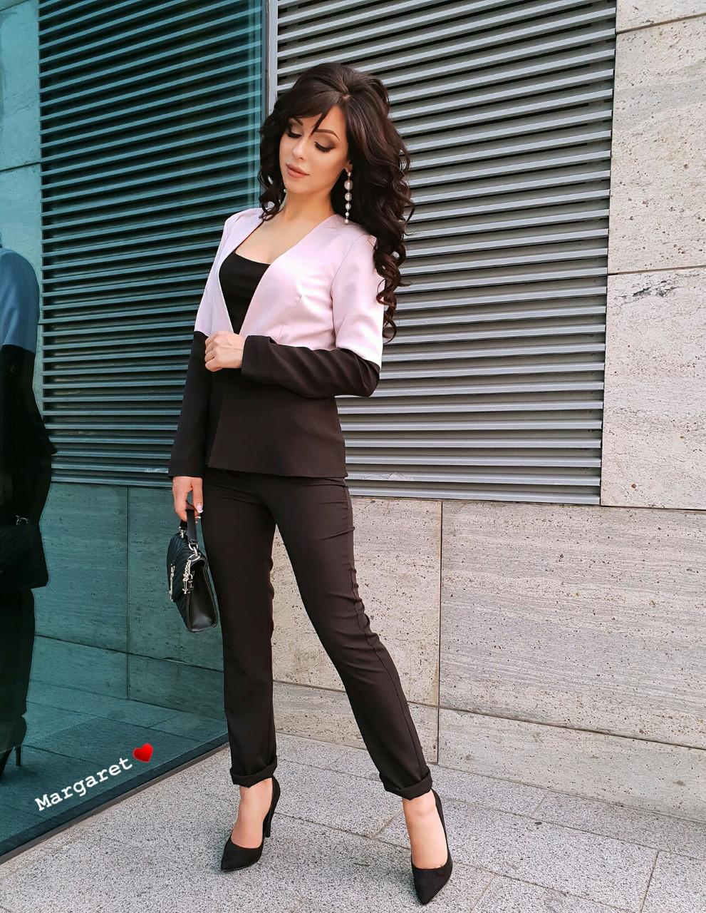 38a1ad3b1f2 Женский стильный двухцветный костюм тройка(жакет