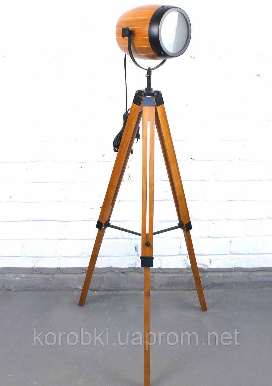 Торшер светильник прожектор в стиле лофт Модель 12 на деревяной треноге