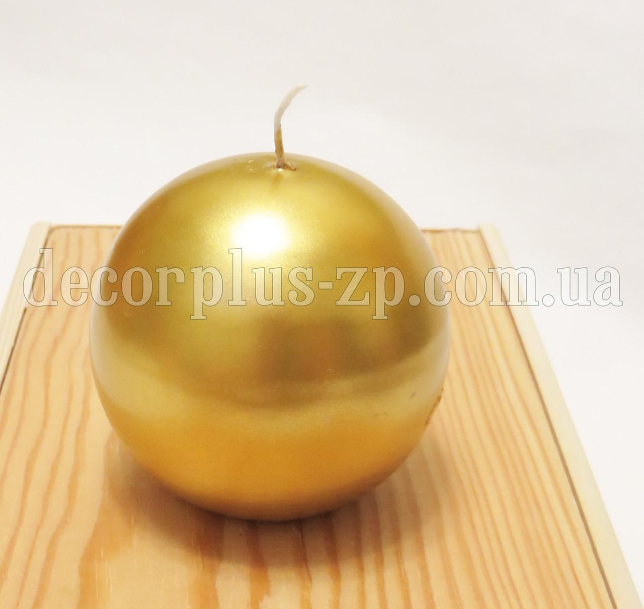 Свеча - шар 8см , золото перламутр