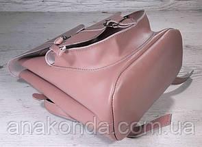 123-2 Натуральная кожа Городской рюкзак розовый Кожаный рюкзак Из натуральной кожи Рюкзак женский пудра рюкзак, фото 2