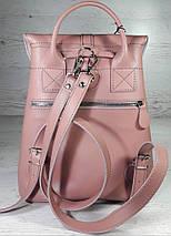 123-2 Натуральная кожа Городской рюкзак розовый Кожаный рюкзак Из натуральной кожи Рюкзак женский пудра рюкзак, фото 3