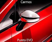 Накладки на зеркала Fiat Punto Evo 2009-2011 (2 шт., нерж.) Carmos