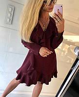 Женское элегантное платье с оборками и V-образным вырезом, фото 1