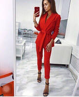 Женский стильный костюм-двойка брюки и пиджак на запах с поясом, фото 1