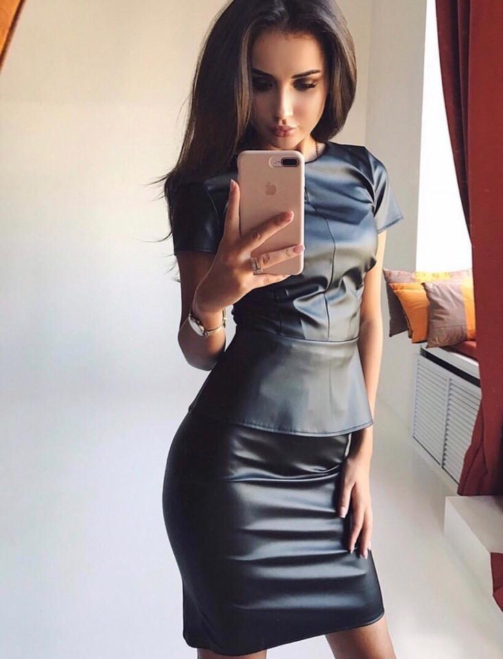 601bd1131d9 Женский кожаный костюм-двойка юбка и кофта с баской