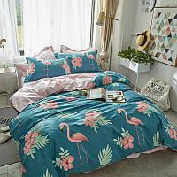 Уценка (дефекты)! Комплект постельного белья Фламинго в цветах (двуспальный-евро) Berni