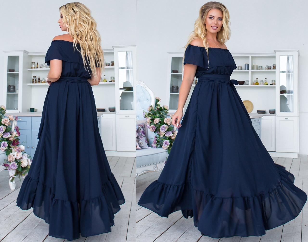 9893909c02e9b1c Длинное шифоновое платье с поясом. Т.синее, 5 цветов. Р-р: 48-50-52 ...