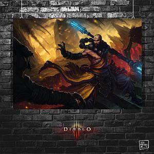 Постер Монах, Munk. Diablo 3, Дьябло 3. Размер 60x42см (A2). Глянцевая бумага