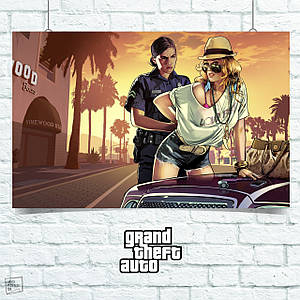Постер GTA 5, Полисменша арестовывает нарушительницу. Размер 60x42см (A2). Глянцевая бумага