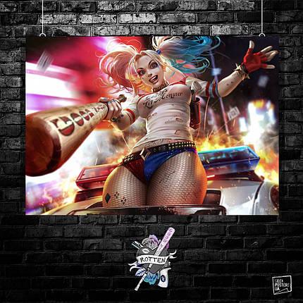 Постер Харли Квинн, Harley Quinn. Размер 60x42см (A2). Глянцевая бумага, фото 2