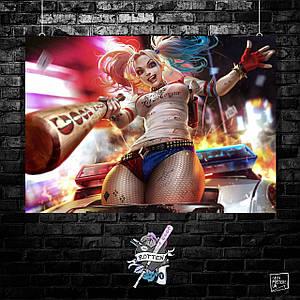 Постер Харли Квинн, Harley Quinn. Размер 60x42см (A2). Глянцевая бумага