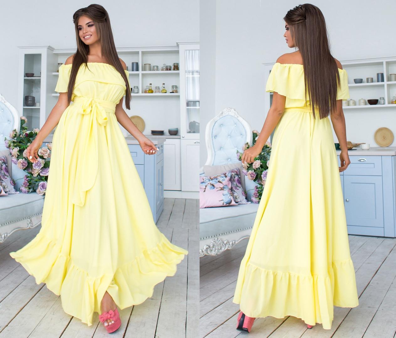 22987b6d4fbf982 Длинное шифоновое платье с поясом. Лимонное, 5 цветов. Р-р: 42-44-46 ...