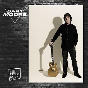 Постер Gary Moore, Гэри Мур, гитарист. Размер 60x43см (A2). Глянцевая бумага