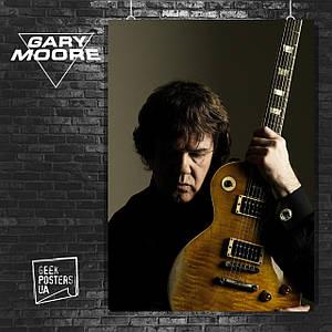 Постер Gary Moore, Гэри Мур, гитарист. Размер 60x42см (A2). Глянцевая бумага