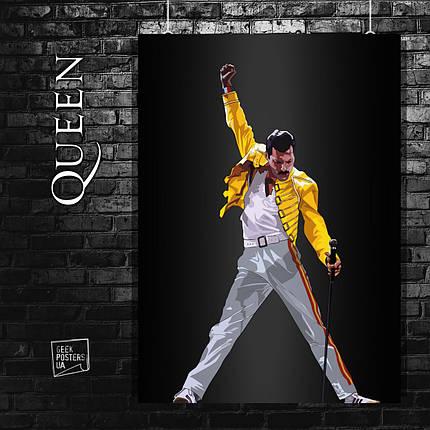 Постер Queen, Freddy Mercury, Квин, Фредди Меркьюри. Размер 60x42см (A2). Глянцевая бумага, фото 2
