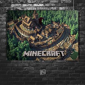 Постер Minecraft, Майнкрафт (город с замком). Размер 60x42см (A2). Глянцевая бумага