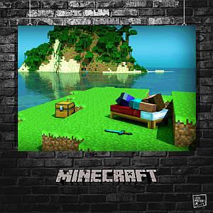 Постер Minecraft, Майнкрафт (гамак с видом на остров). Размер 60x42см (A2). Глянцевая бумага