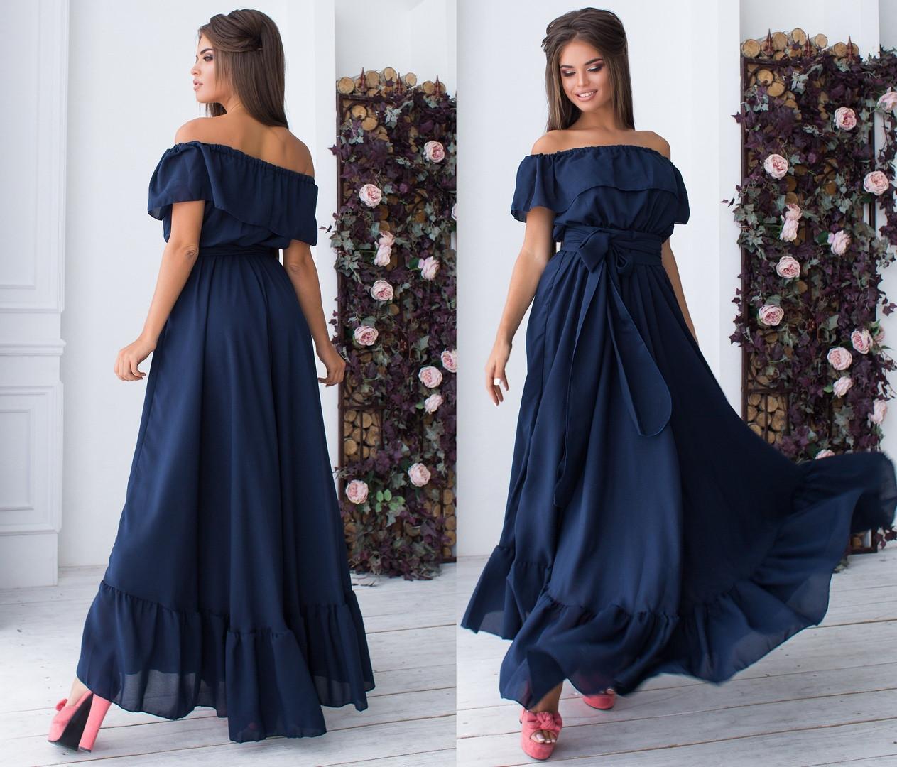 8c15aa872b10ca2 Длинное шифоновое платье с поясом. Т.синее, 5 цветов. Р-р: 42-44-46 ...