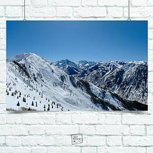 Постер Альпы, горы, снег, природа. Размер 60x42см (A2). Глянцевая бумага