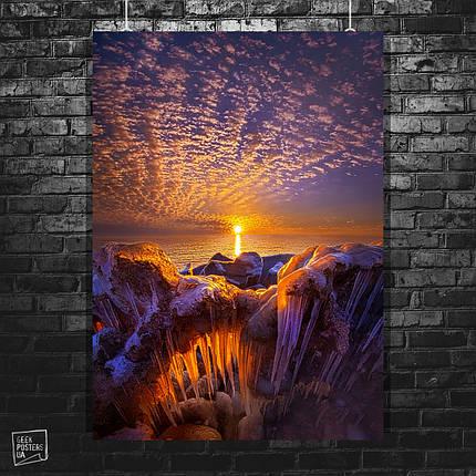 Постер Арктический лёд и закат солнца, природа. Размер 60x42см (A2). Глянцевая бумага, фото 2