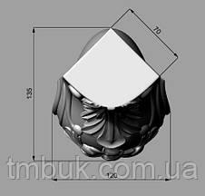 Ножка мебельная кабриоль с цветком и лепестком, скругленная. Для шкафа, тумбы, кресла. 430 мм., фото 3