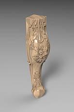 Ножка мебельная кабриоль с цветком и лепестком, скругленная. Для шкафа, тумбы, кресла. 430 мм., фото 2