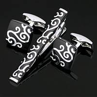 Запонки и зажим для галстука Серебряный узор в чёрном