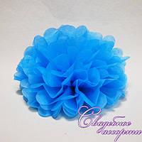 Бумажный помпон голубой (20 см)