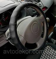 Оплетка на руль натуральная кожа черная., фото 1