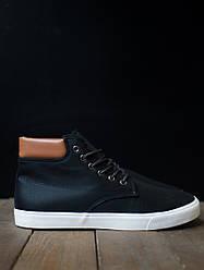 Зимние мужские винтажные кроссовки черные