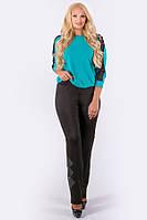 Прямі брюки зі шкіряною аплікацією Хлоя (чорний) великого розміру 54-64 батал, фото 1