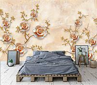 """3D фотообои """"Цветы в персиковых тонах"""""""