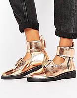 Туфли женские ботиночки asos натуральная кожа золотые, фото 1