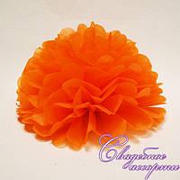 Бумажный помпон оранжевый (25 см.)