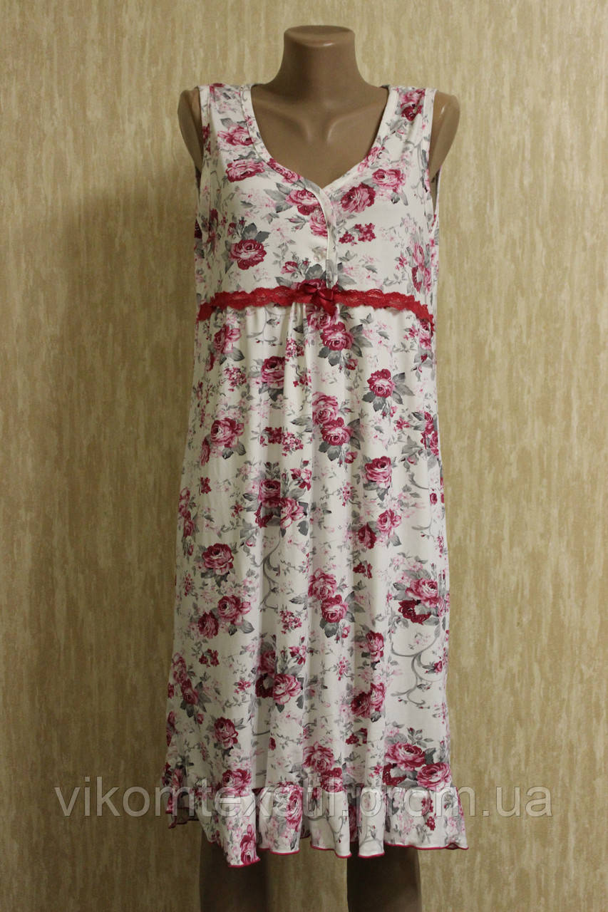 99ad7d1679e6895 Женская ночная рубашка без рукавов бамбук (батал) 100% хлопок Турция ...