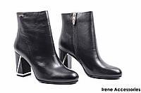 Ботильоны женские кожаные Maria Moro (ботинки на стильном каблуке, байка)