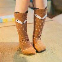 Детские высокие носки, гольфы  Лисичка рыжая