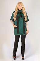 Жіночий трикотажний жилет Делюкс двоколірний великого розміру 54-64 батал зелений, фото 1