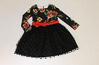 """Повседневное платье на девочку """"Черный флок"""" с темным верхом"""