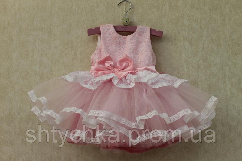 """Нарядное платье на девочку """"Карамелька"""" нежно розовая"""