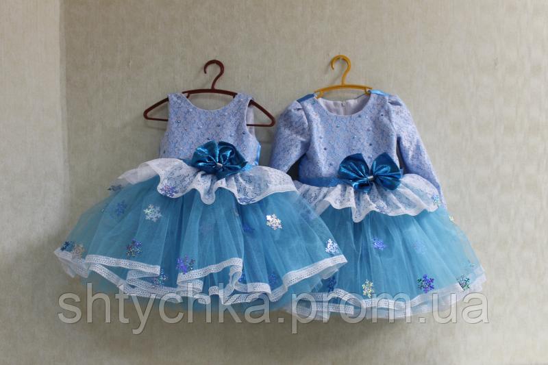 """Нарядное платье на девочку """"Голубая карамелька"""" снежинка без рукавов"""