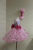 """Нарядное платье на девочку """"Розовая конфетка с блестками"""""""